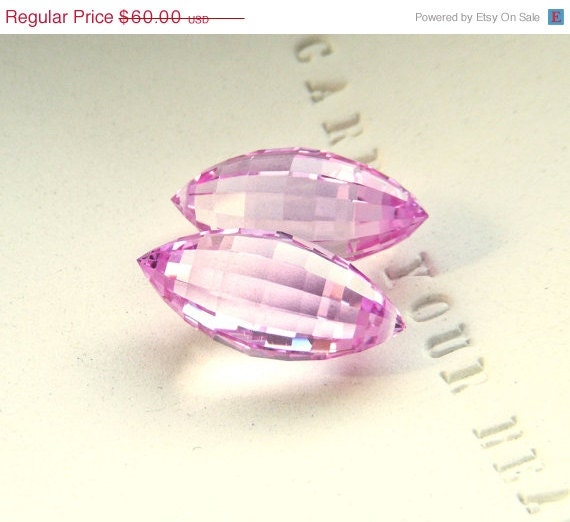SALE - Save 15% - XL Pink Topaz Step Faceted Puff Pointer Briolette Pair