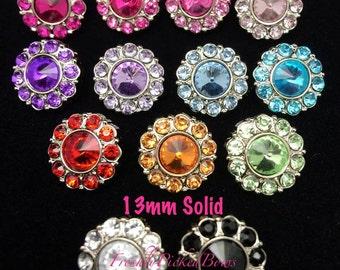5 Solid Rhinestone Acrylic Button Size 13mm