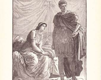1901 World History Print - Octavianus and Cleopatra - Vintage Antique Art Print American History Great for Framing 100 Years Old