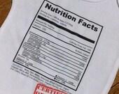 Custom Nutrition Label bodysuit. Original design. 100 percent cotton. All sizes except adult.