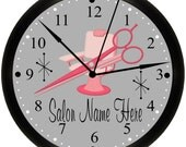 Beauty Shop, Beauty Salon, Hair Stylist Or Hairdresser Pink Personalized Business Shop Wall Decor Clock.