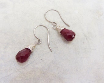 Sterling silver dangle earrings, Rubilite drop earrings