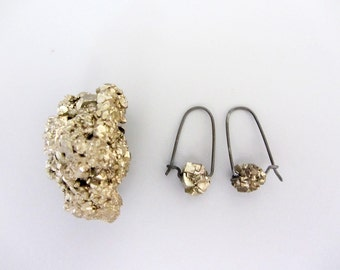 Oxidized sterling and Pyrite nugget earrings, Modern oxidized earrings
