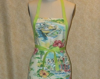 Apron Jamaican Village Apron All Cotton Chef Style wrap around full figure comes with coordinating knit dish cloth