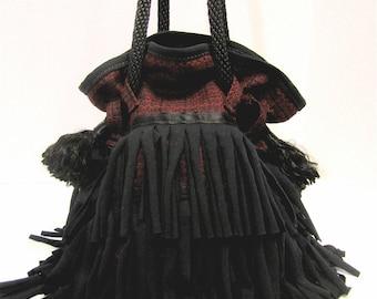 Burgundy and Black Fringe Drawstring Bag