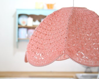 Crochet Lamp Shade - peach