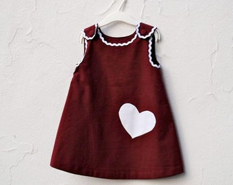 The Valentine's Day Dress - Toddler Girls Dress in Eco Friendly Burgundy Red with White Heart - Modern Kids Clothing