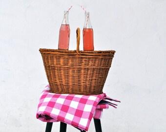 Pink Lemonade Picnic Blanket - Large Gingham- Beach Blanket- Spring Outdoors Blanket