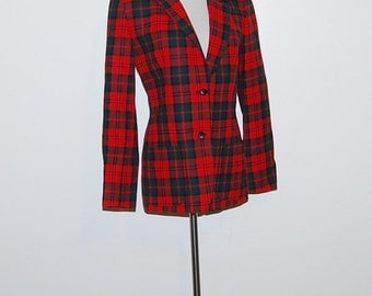 Vintage Pendleton Red Plaid Blazer / Jacket