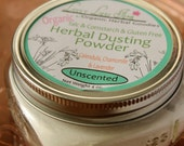 Herbal Calendula, Chamomile and Lavender Body Dusting Powder UNSCENTED. 4 oz. with dusting puff