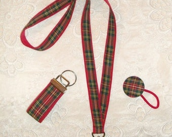 Preppy Red Tartan Plaid Lanyard Set with Key Chain Ponytail Holder
