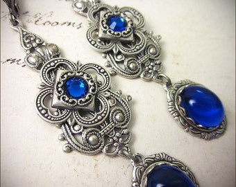 Sapphire Jewel Renaissance Earrings, Blue Earrings, Borgias, Medieval Jewelry, Tudor Earrings, Bridesmaid Earrings, SCA, Ready to Ship