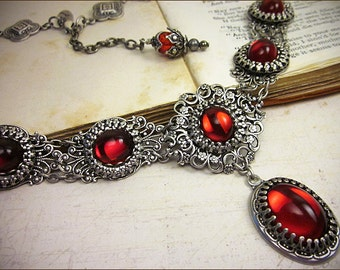 Red Victorian Necklace, Ruby Wedding, Renaissance Jewelry, Medieval Costume, Bridal Jewelry, Tudor, Ren Faire Garb, SCA, Bridesmaid, Lucia