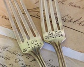 Vintage flatware ONE hand stamped inspirational personalized gift wedding anniversary