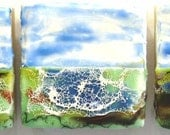 """Beeswax encaustic water landscape painting tripych 4""""x12"""""""