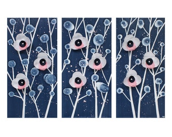 Nursery Wall Art for Girls - Blue and Pink Orchid Painting Original Triptych Canvas - Medium 32x20