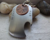 Lucky Too, New version stainless steel bottle opener keychain With TWO pennies