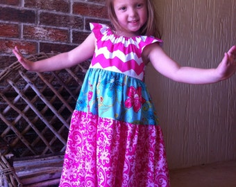 Girls Maxi Dress Hot Pink Chevron Turquoise Floral Sweet