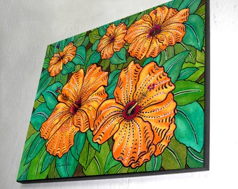Hibiscus Art Wood Wall Panel, Ready to Hang