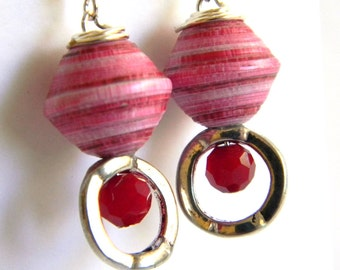 Paper Bead Jewelry - Earrings - #203 - Valentine's