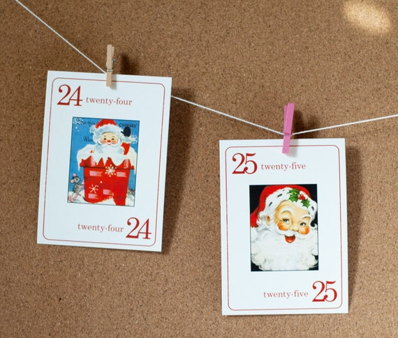 Mini Santa Vintage Flashcards - Set of 25