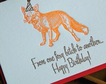 Foxy Birthday- Letterpress greeting card, single