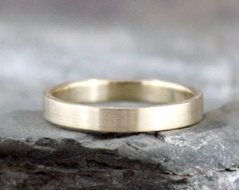 14K Yellow Gold Wedding Band - 3mm Wide - Mens or Ladies - Matte Finish or Polished Finish - Classic Wedding Bands - Commitment Rings