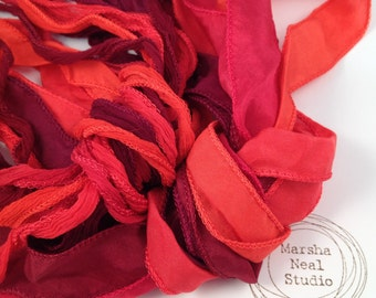 Hand Dyed Silk Ribbon - Silky Ribbon - Fairy Ribbon - Jewelry Supplies - Wrap Bracelet - Craft Supplies - Holiday Red Color Palette