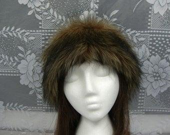 Women's Faux Fur HEADBAND, Fur Headwrap, Ear Warmer, Head Warmer, Brown Fox Fur Headband