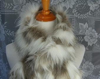 Faux Fur NECKWARMER Scarf with loop,Tibetan Sand Fox Ivory Faux Fur, Fur Neckpiece, Fur Collar, Women's Cowl