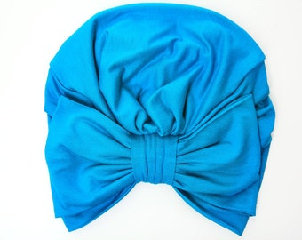 Turban with Bow - Turquoise Blue Hair Wrap in Jersey Knit - Women's Fashion Head Covering - Lots of Colors