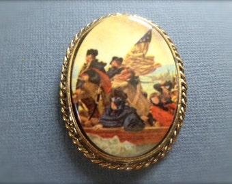 Vintage Washington Crossing the Delaware River Brooch. Emanuel Leutze History Jewelry. Patriotic Jewelry. Oval Antique Gold Setting.