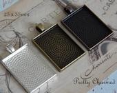 10 Pendant Trays - Bezels - Cabochon Settings 25x35mm Rectangle Mix n Match Bronze Copper Silver