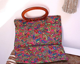 Vintage Paisly Handbag Colorful Retro Foldover Lucite Handle Tote Bag Laptop Tote Bag