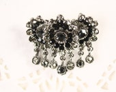 Black Rhinestone Flower Pin - Blossom Cluster w/ Dangling Gems - New/Old Stock Vintage Brooch