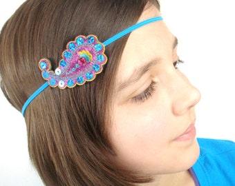 Turquoise Paisley Headband, Custom Size