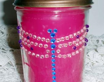 Candle, Hot Pink, Canning Jar, Vanilla Scent, Dragon Fly, Jelly Jar,  Rhinestones, Bling, Glitz