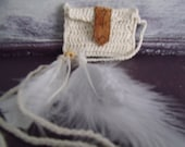 Coin Bag Totem Necklace with Feathers Purse Burning Man Luck Leather