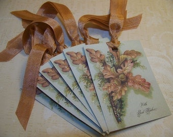 Thanksgiving Tags Autumn Tags Oak Leaf and Acorn Tags With Best Wishes  Set of 6 or 9