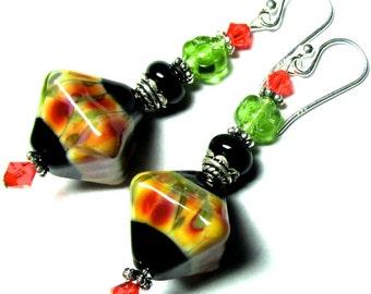 Orange Black Earrings Lampwork Earrings Glass Earrings Handmade Earrings Black Orange Earrings Artisan Earrings Beaded Earrings