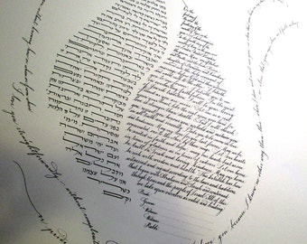 Flame Ketubah - all text - calligraphy - Hebrew and English