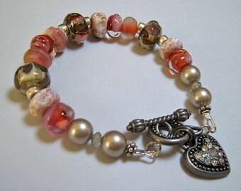 Handmade Lampwork Glass Bracelet - Autumn Sunset (B-90)