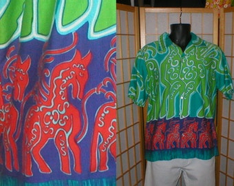 60s cotton bark cloth Hawaiian tiki print shirt mens size large