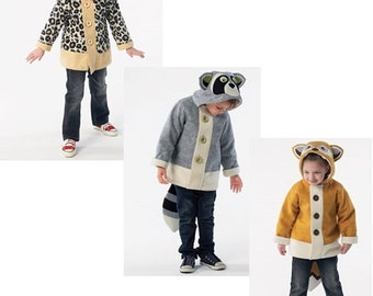 KIDS COAT PATTERN / Retired / Fun Animal Styles / Boys and Girls / Hood / Sizes 2 to 5 or 6 to 8