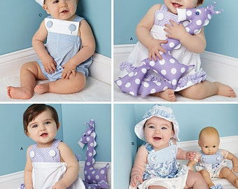 BABY CLOTHES PATTERN / Make Boy - Girl Summer Clothes / Sundress - Romper - Hats- Barefoot Sandals / Matching Toy or Bitty Baby Doll Outfit