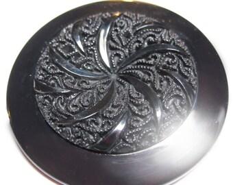"Vintage Huge Black Plastic 1 3/4"""" Glamorous Button N6R 3"