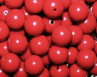 Vintage 36 Cherry Red Round Lucite 10mm Beads  FL5