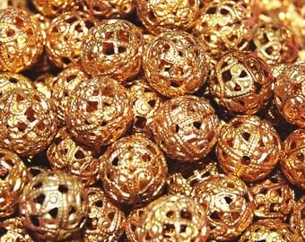 Vintage 12 Ornate Brass Filigree  11.5MM Beads H4L