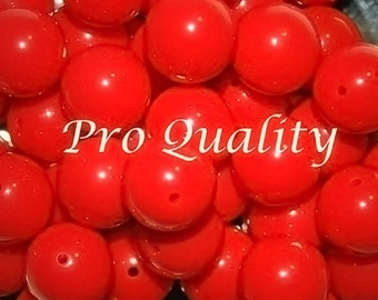 Vintage Lot of 18 Tomato Red Lucite Round Beads 14MM D3