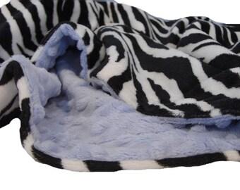 Blue and Wild Zebra Minky Dot Baby Blanket